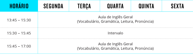 tabela de aulas do curso Curso de Inglês a tarde da Apollo Language Centre